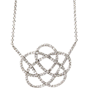 New 14 Karat White Gold 0.75ct Diamond Necklace.