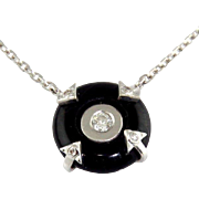 New 14 Karat White Gold Diamond & Onyx Pendant On Chain Necklace.