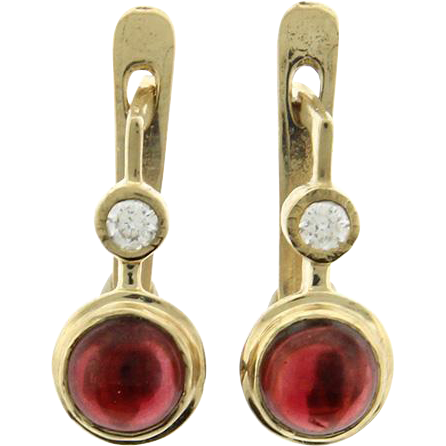 New Pair of 14k Yellow Gold Garnet and CZ Earrings.