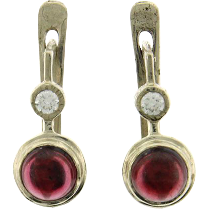 New Pair of 14k White Gold Garnet & CZ Earrings