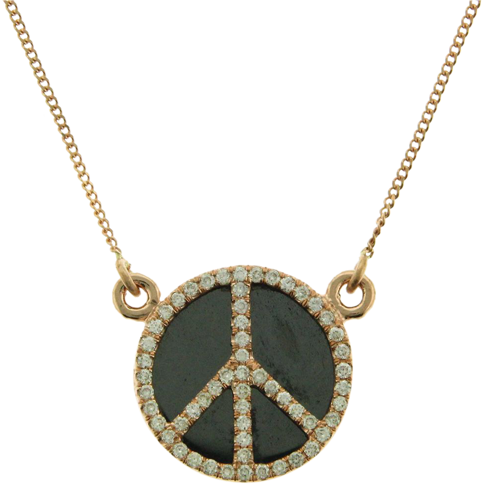 14 Karat Rose Gold Diamond and Hematite Peace Symbol Necklace.