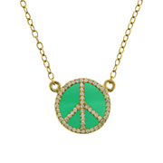 14 Karat Yellow Gold Diamond and Green Agate Peace Symbol Necklace.