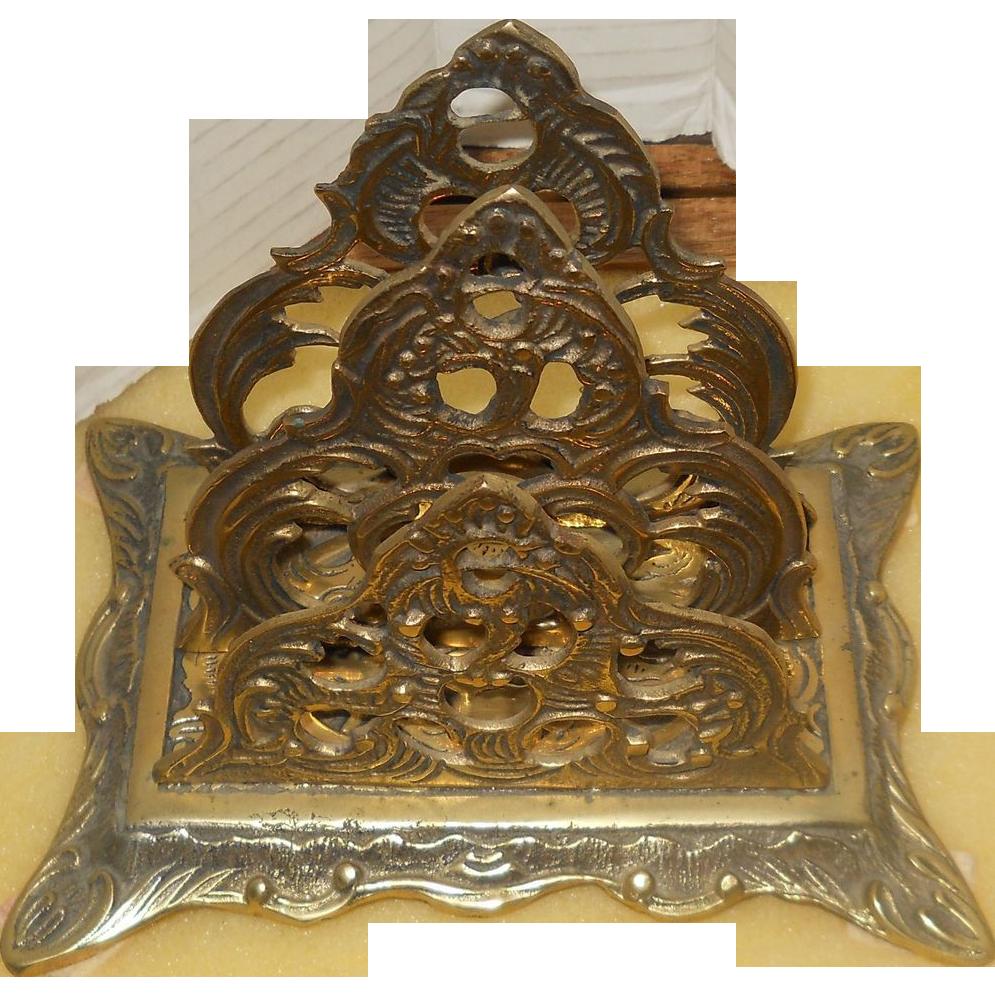 Ornate vintage brass letter holderdesk item2 space sold for Vintage letter holder desk