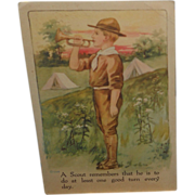 "Boy Scout Postcard~Blowing Bugle ""Scout Remembers That He is to do at Least One good Turn Every Day"""