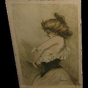 Henri Boutet Artist Signed Risque Lady Putting Dress On Postcard