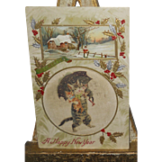 Cloth Center Postcard~Mother Cat Carrying Kittens Under Umbrella Happy New Years