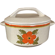 1970's Temper-Ware by Lenox Casserole Dish with lid Fire Flower Pattern