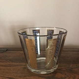 1960's Glass Ice Bucket Gold Color Stripes
