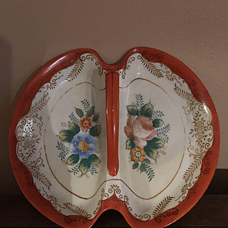 Coronation China Nut/Candy Dish with Handle Vintage Made in Japan Orange Floral