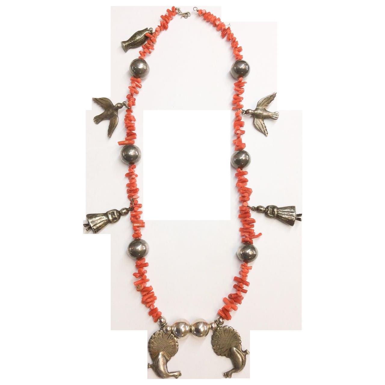 Vintage Branch Coral Sterling Necklace