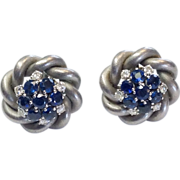 Vintage Sapphire & Diamond Earrings in Brushed White 18k Gold