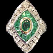 Edwardian Emerald & Diamond Ring 18k Gold & Sterling Silver