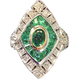 Edwardian Emerald & Diamond Ring 18k Gold & Sterling Silver