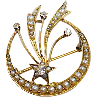 Antique Victorian Diamond & Pearl Crescent Moon Pin/Pendant