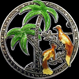 Art Deco Bird Palm Tree Brooch Sterling Silver Enamel Marcasite Antique Pin By Uncas Circa 1940s