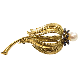 Vintage Floral Brooch 18k Gold with Sapphires and Pearl