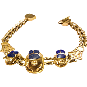 Vintage 1970's Estate Lapis and 18k Gold Scarab Bracelet
