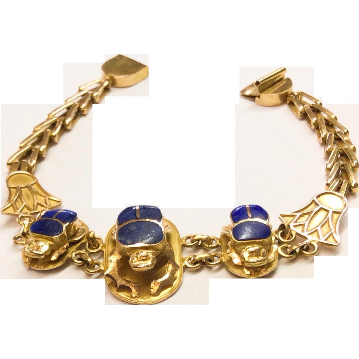 Vintage 1970's Estate Lapis and 18k Gold Scarab Bracelet