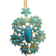 Exquisite Vintage 18kt Turquoise Necklace/Brooch