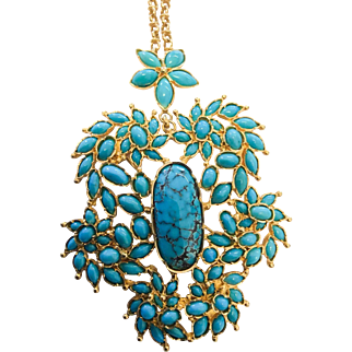 Exquisite Vintage 18kt Turquoise Necklace/Brooch
