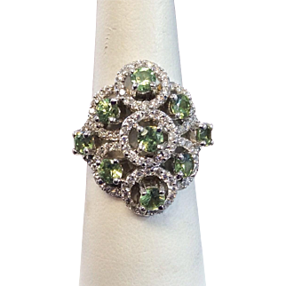 Natural Russian Demantoid Garnet & Diamond 18k White Gold Ring
