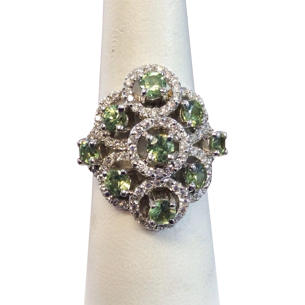 Natural Russian Demantoid Garnet & Diamond 18k White Gold Ring