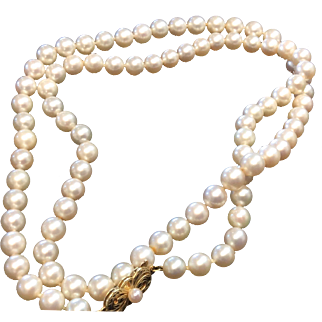 "Vintage Mikimoto 18k Gold Akoya Pearl Necklace 25"" 6.5-7 mm"