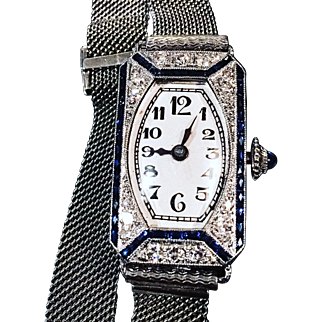 Art Deco Platinum Diamond & Sapphire 1940's Ladies Watch in Excellent Condition