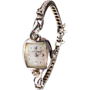 Vintage Lady Hamilton 1940s14K White Gold & Diamond Watch