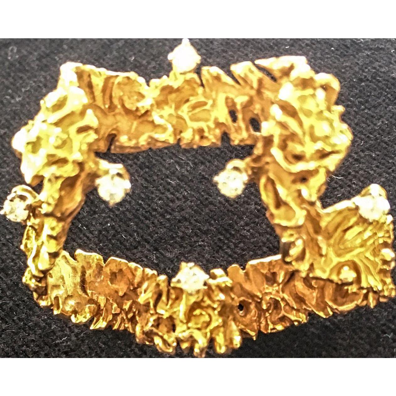 Vintage 14K Gold and Diamond Ribbon Pin/Brooch