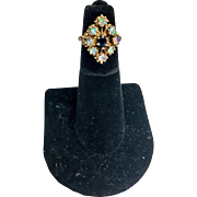 Regal vintage 14k gold sapphire and opal ring