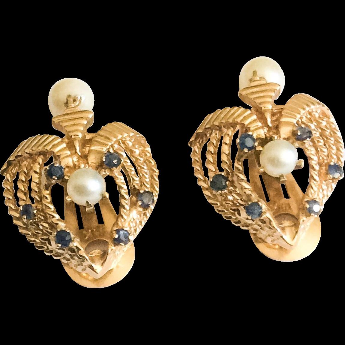 Vintage Sapphire & Pearl 14k Clip On Earrings