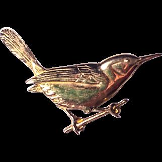 Vintage 14k Yellow Gold Bird Brooch / Pin