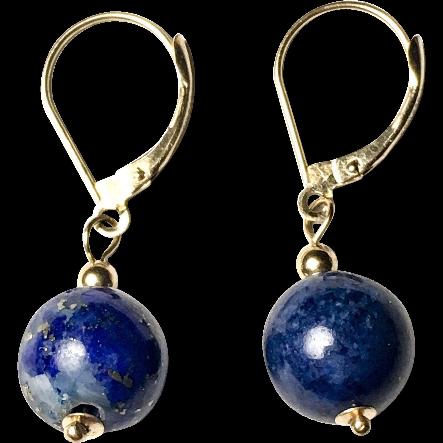 Vintage Lapiz Lazuli Drop Earrings 14k Gold