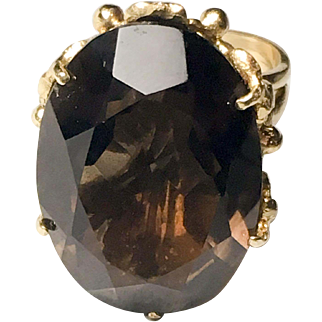 Vintage Smoky Quartz & 14k Yellow Gold Ring with Leaf Mounting