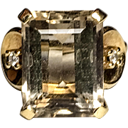 14k yellow gold emerald-cut Cognac Quartz vintage ring with diamond accents
