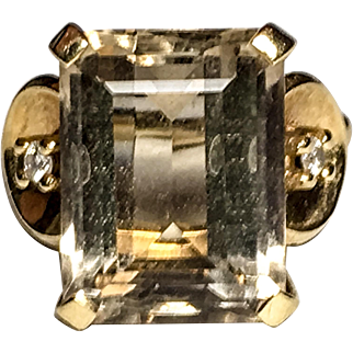 14k yellow gold emerald-cut Cognac Quartz vintage ring with diamond accents