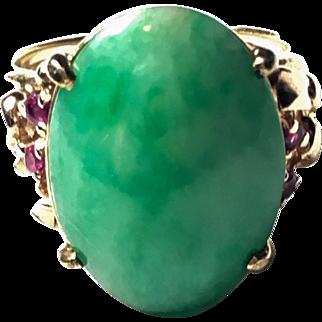 Vintage 14k yellow gold Jade & Ruby Ring