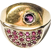 Unique 18k Two-tone Gold Vintage Ruby Ring