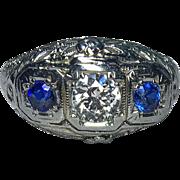 Edwardian Era Diamond & Sapphire 18k Ring