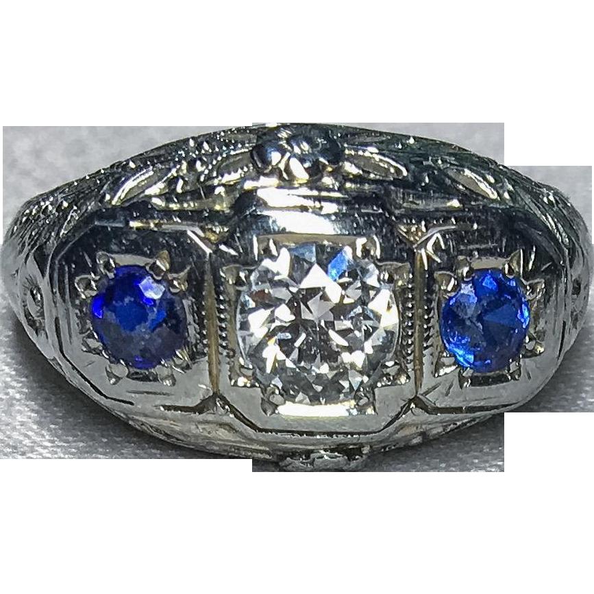 0.40 Carat F SI2 Diamond & Sapphire 18k Ring