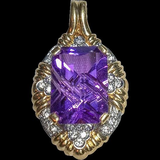 18k Amethyst Diamond Pendant