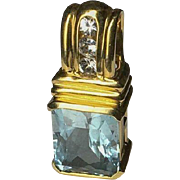 Vintage 14k Blue Topaz & Diamond Slide Pendant