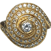 14k Spiral Diamond Ring