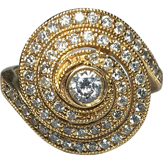 14k Spiral Diamond Ring