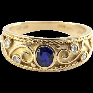 Vintage 10k Sapphire & Diamond Ring