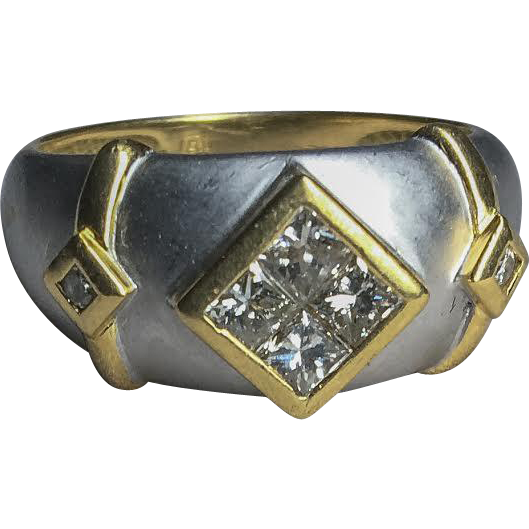 Unique Vintage 18k Two-Tone Frosted White Gold 6-Diamond Ring Princess Cuts