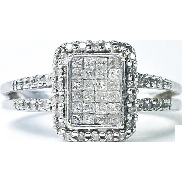 Unique 10k Diamond Cluster Ring 1.2Cttw Size7
