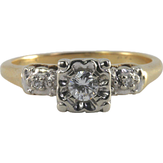 Vintage 14k 3-Diamond Engagement Ring