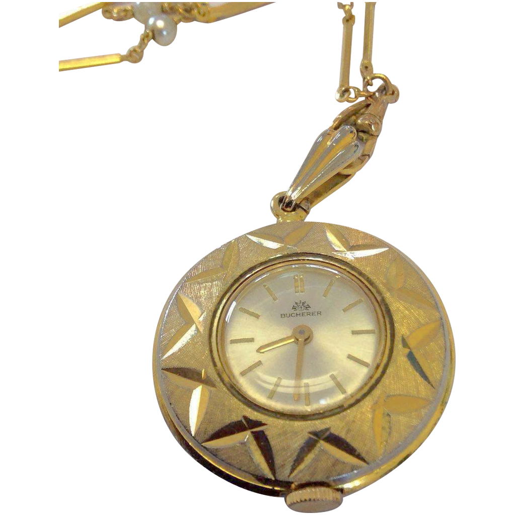 Vintage Bucherer Pendant Watch On 29 Quot Necklace From Nedjb